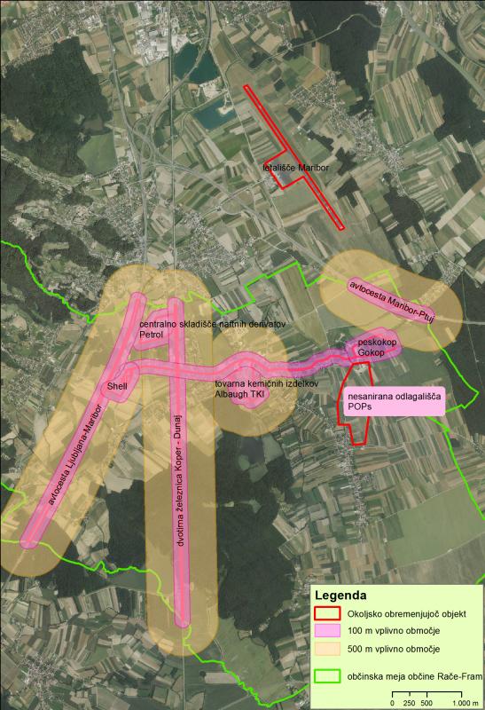Pregled nekaterih potencialno okoljsko obremenjujočih lokacij ali objektov v Račah in bližnji okolici